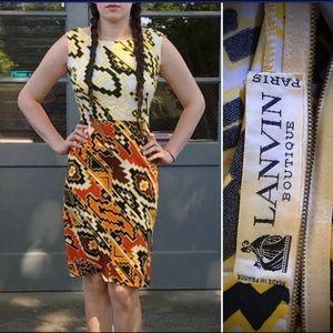 Vtg 60s LANVIN PARIS France Dress Mod Geo Print 38